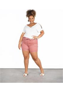 Bermuda Besni Sarja Plus Size Clochard Feminina - Feminino-Rose Gold
