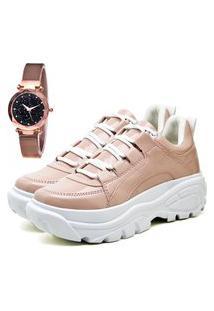Tênis Sapatênis Plataforma Elegant Com Relógio Gold Feminino Dubuy 730La Rosa