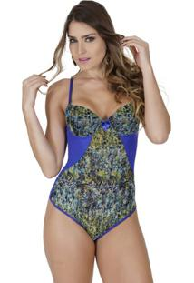 Body Click Chique Com Bojo De Tule - Feminino-Azul