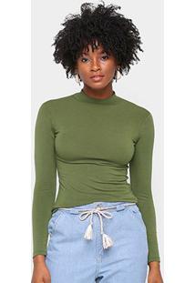 Camiseta Volare Gola Alta Manga Longa Feminina - Feminino-Verde Escuro
