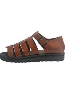Sandália Rasteira S2 Shoes Couro Telha