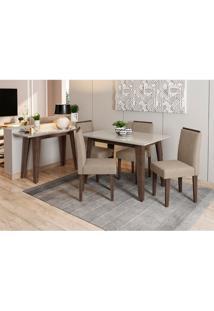Conjunto De Mesa De Jantar Com Tampo De Vidro Jade E 4 Cadeiras Amanda Animalle Off White E Bege