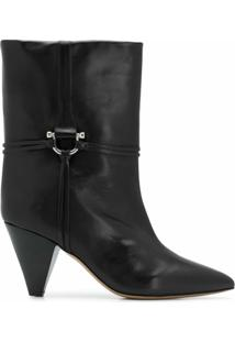 Isabel Marant Ankle Boot De Couro - Preto