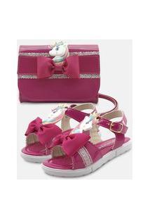 Sandália Mz Shoes Com Bolsa Carteira Menina Infantil Laço Unicórnio Pink/Glitter Rosa