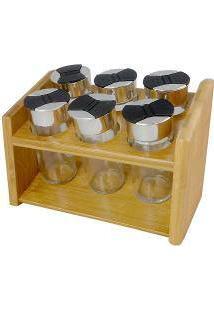Jogo 5 Porta Condimentos Em Vidro Com Suporte Em Bambu - Dynasty - 20X14 Cm