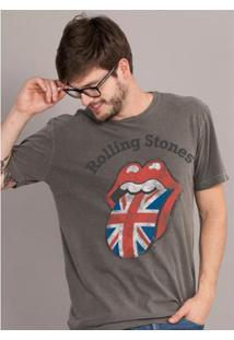Camiseta Bandup! Premium The Rolling Stones Uk Flag Masculina - Masculino-Grafite