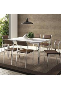 Mesa 1526 Branca Cromada Com 6 Cadeiras 1709 Cacau Carraro