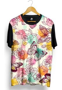 Camiseta Bsc Colorful Flowers Butterfly Full Print - Masculino-Preto