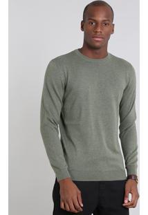 Suéter Masculino Comfort Fit Em Tricô Gola Redonda Verde Militar