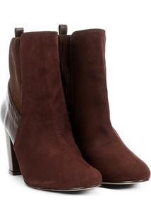 Bota Couro Cano Curto Shoestock Salto Grosso Feminina - Feminino-Café