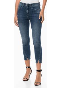 Calça Jeans Jegging High Lateral Distorc - Azul Médio Calca Jeans Jegging High Lateral Distorc - Azul Médio - 36