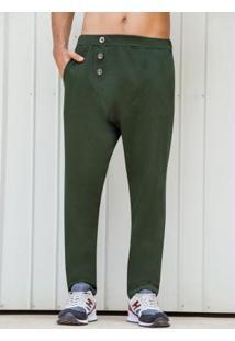 Calça Verde Saruel Com Botões Frontais