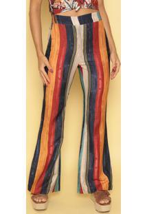 Calça Flare Listrada Com Linho - Vermelha & Azul Marinhor. Do Sol