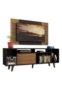 Rack Madesa Cancun E Painel Para Tv Até 58 Polegadas Com Pés - Preto/Rustic D8C1 Cor:Preto/Rustic