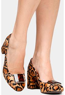 Scarpin Couro Shoestock Salto Médio Acrílico Onça - Feminino-Onça