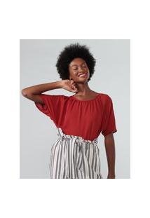 Amaro Feminino Blusa Franzidos Recorte Frente, Vermelho