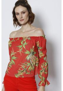 Blusa Ciganinha Texturizada & Floral- Vermelha & Verdetvz