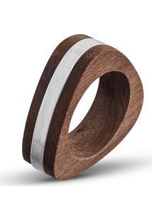 Anel Wooden Design Triangular Filetado Em Prata 925 - Madeira E Prata