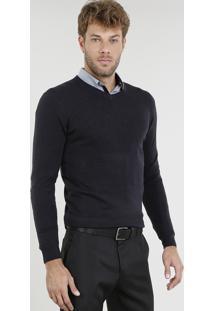 Suéter Masculino Básico Em Tricô Gola V Azul Marinho
