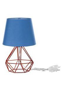 Abajur Diamante Dome Azul Com Aramado Cobre