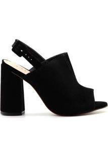 Sandália Royalz Nobuck Ankle Boot Salto Nara Feminina - Feminino-Preto
