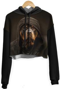 Blusa Cropped Moletom Feminina Over Fame Rottweiler Md01