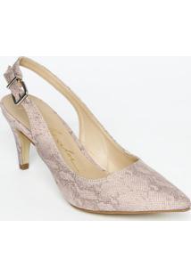 Sapato Chanel Em Couro Com Fivela & Ajuste - Rosê & Branluiza Barcelos
