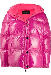 Goose Tech Patent Hooded Padded Jacket - Rosa