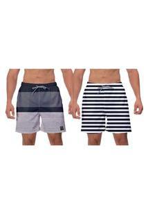 Kit 2 Shorts Moda Praia Cinza Masculino Listras Petra Branco Caminhada Banho Piscina W2