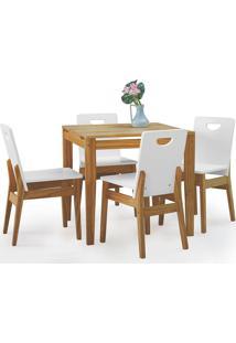 Sala De Jantar Com Mesa E 4 Cadeiras Tucupi 80Cm - Acabamento Nozes E Laca Branco