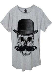 Camiseta Longline Estampada Corvuz El Bigode Cinza Mescla