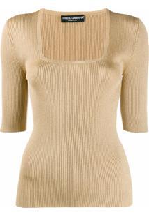 Dolce & Gabbana Blusa Decote Quadrado De Tricô - Neutro