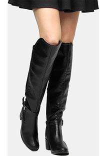 Bota Ramarim Over The Knee Salto Baixo Fivela - Feminino-Preto