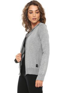 Cardigan Calvin Klein Jeans Tricot Com Capuz Cinza
