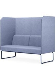 Sofa Privativo Pix Com Divisoria E Assento Mescla Azul Base Aco Preto - 55086 - Sun House