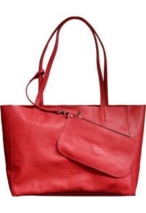 Bolsa Line Store Sacola Shopper N2 Couro Vermelho