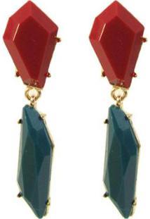 Brinco Armazem Rr Bijoux Pedras - Feminino-Vermelho+Verde