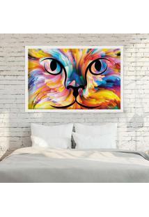 Quadro Love Decor Com Moldura Color Cat Branco - Médio