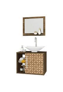 Conjunto P/ Banheiro Baden Madeira Rústica Bechara Marrom