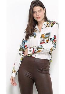 Camisa Facinelli Floral Botões Feminina - Feminino-Branco