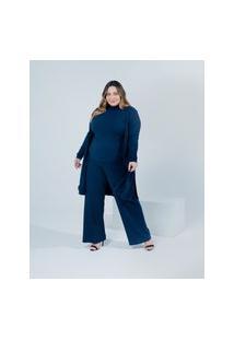 Calça Pantalona Almaria Plus Size Miss Taylor Canelado Azul Marinho