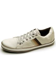 Sapatênis Couro Top Franca Shoes Masculino - Masculino-Bege