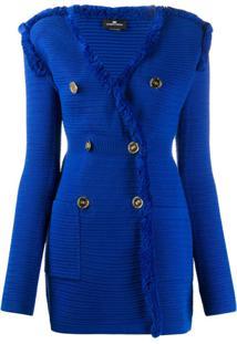 Elisabetta Franchi Elongated Knitted Blazer - Azul