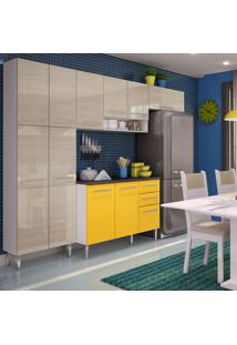 Cozinha Compacta Madesa Jasmin Branco/Tirol/Amarelo
