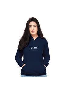 Blusa Moletom Feminino Azul Marinho Oh No