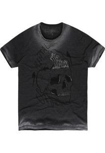 Camiseta Khelf Mescla Caveira Metal Preto Cinza