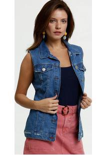 Colete Feminino Jeans Alongado Botões Marisa