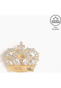 Broche Coroa Com Pedrarias - Dourada - 5X7Cmversace