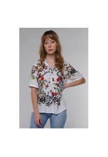 Blusa De Viscose Estampada Com Flor Under79 Branca E Rosa