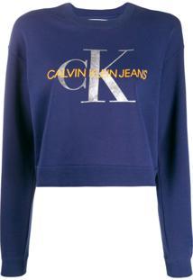 Calvin Klein Jeans Moletom Com Logo - Azul